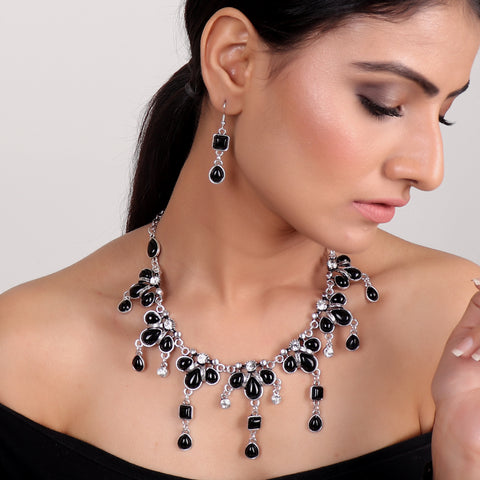 Necklace Set,Queen of Greece Necklace Set in Black - Cippele Multi Store