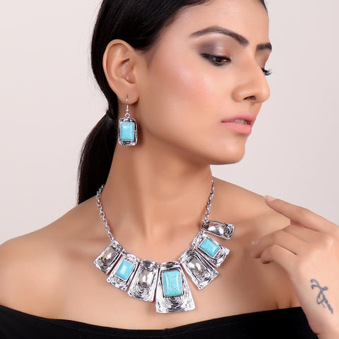Necklace Set,High Fashion Metal Necklace Set in Blue - Cippele Multi Store
