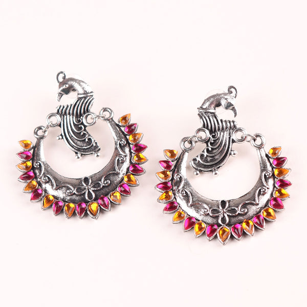Earrings,The Peacock in the Moon in Pink & Orange - Cippele Multi Store