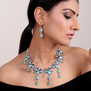 Necklace Set,Queen of Greece Necklace Set in Turquoise - Cippele Multi Store