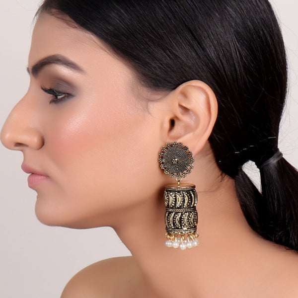 Earrings,Joyful Jhumkas in Golden hue - Cippele Multi Store