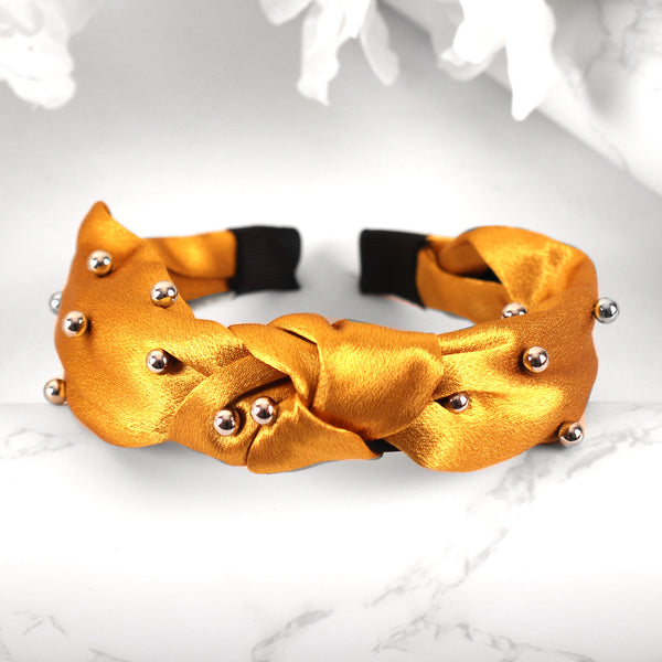 HairBand,The Hair Flair Satin Hair Band in Yellow - Cippele Multi Store