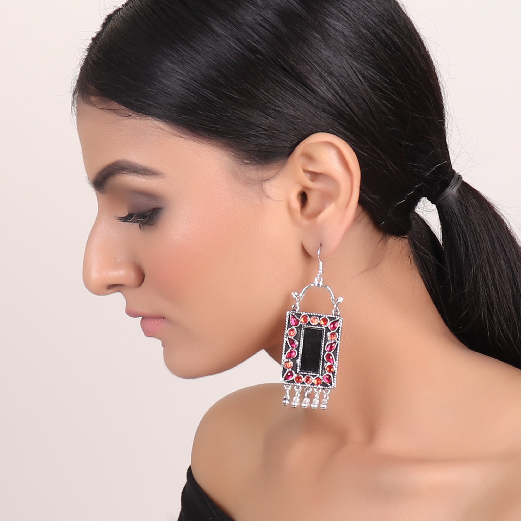 Earrings,Rectangle Mirror Earrings in Pink & Orange - Cippele Multi Store