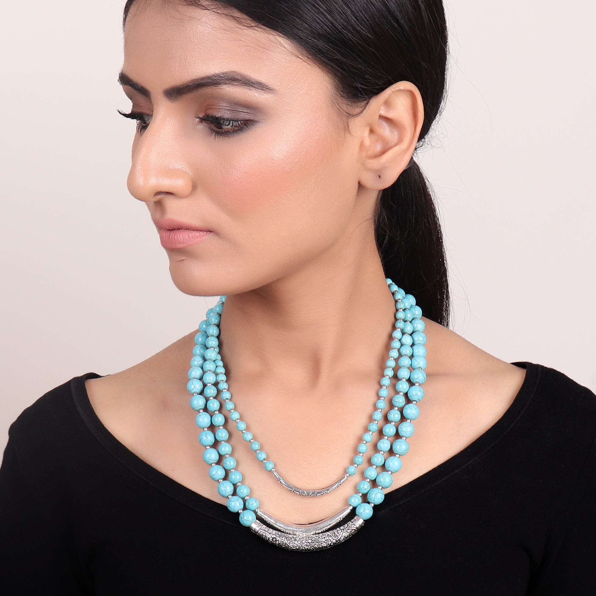 Necklace,Turquoise Beaded Three-layered Necklace - Cippele Multi Store