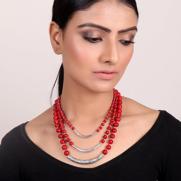 Necklace,Red Beaded Three-layered Necklace - Cippele Multi Store