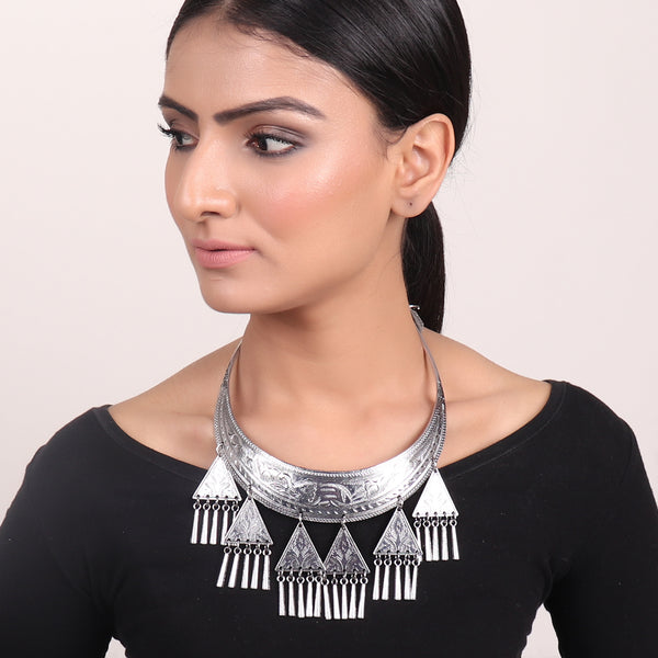 Necklace,Hasli Necklace with Triangular Trinkets - Cippele Multi Store