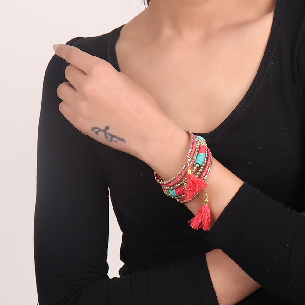 Hand Cuff,Touch of Tassel Spiral Bangle in Red & Blue - Cippele Multi Store