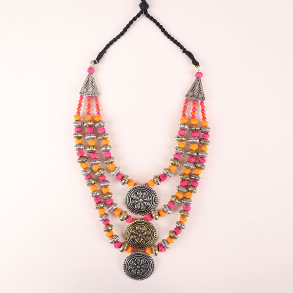 Necklace,The Metal Crayons Beaded Necklace in Pink & Orange - Cippele Multi Store