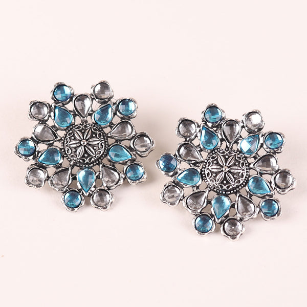 Earrings,The Pearl Hive Studs in Turquoise Blue - Cippele Multi Store