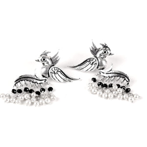 Earrings,Fly with the Bird Silver Look Alike Earring with Black & White Pearls - Cippele Multi Store