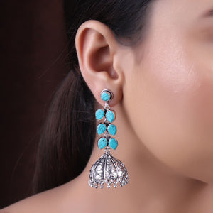 Earrings,The Turquoise Blue Stone Vine Silver Look Alike Earring - Cippele Multi Store