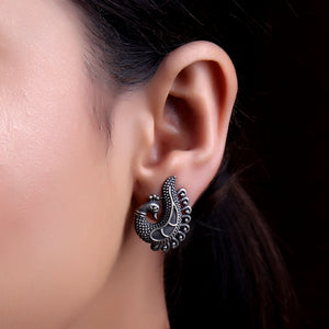 Earrings,The Black ornamented  peahen Silver Look Alike Stud - Cippele Multi Store