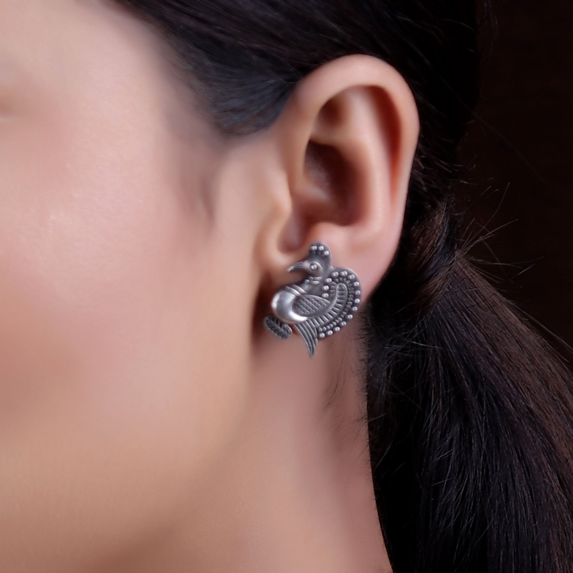 Earrings,The Endearing Crown Peacock Silver Look Alike Stud - Cippele Multi Store