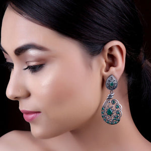 Earrings,The Dew Drop Silver Look Alike Earring with Green Stone - Cippele Multi Store