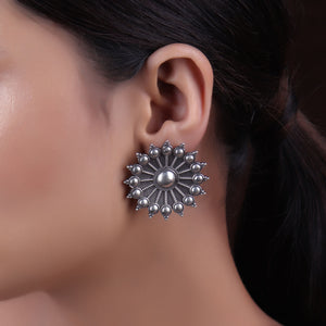 Earrings,The Spokes of Fortune Silver Look Alike Stud - Cippele Multi Store