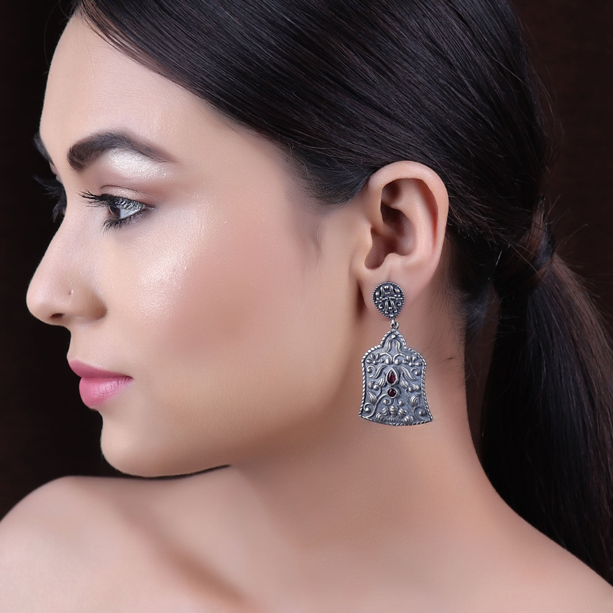 Earrings,The Lantern Silver Look Alike Earring with Red Stone - Cippele Multi Store