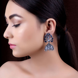 Earrings,The Shah Jahan Peacock Silver Look Alike Earring - Cippele Multi Store