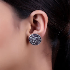 Earrings,The Dancing Peacock Silver Look Alike Stud - Cippele Multi Store