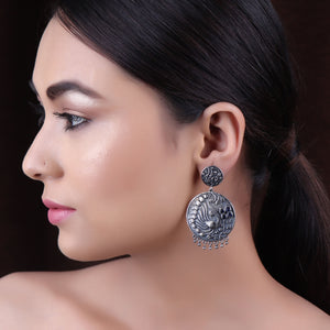 Earrings,The Dual plated Mayur wonder Silver Look Alike Earring - Cippele Multi Store
