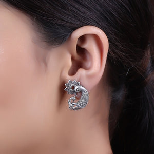 Earrings,The Happy Peacock Family Silver Look Alike Stud - Cippele Multi Store