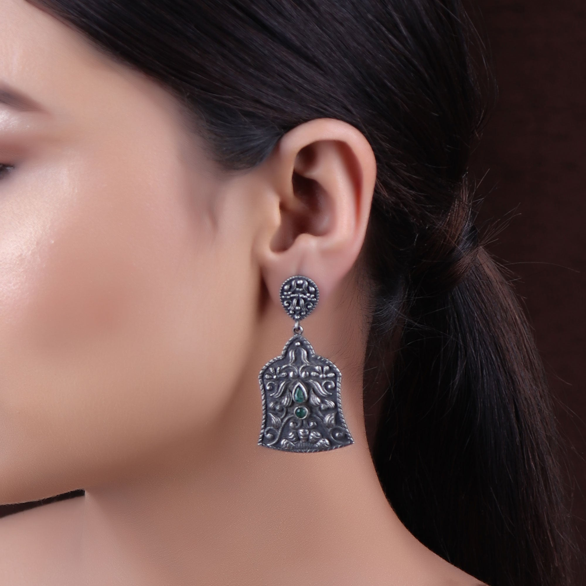Earrings,The Lantern Silver Look Alike Earring with Green Stone - Cippele Multi Store