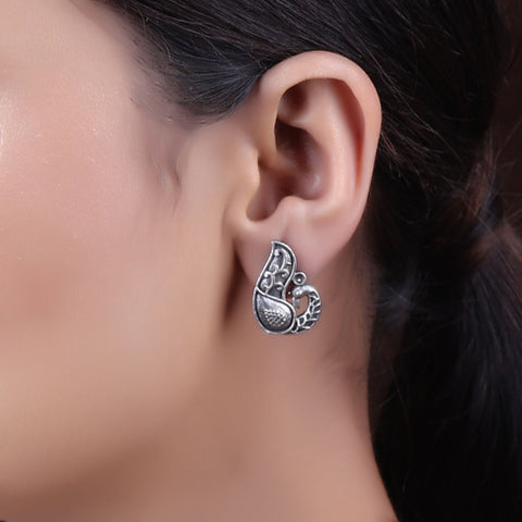 Earrings,The Mayur Silver Look Alike Stud - Cippele Multi Store