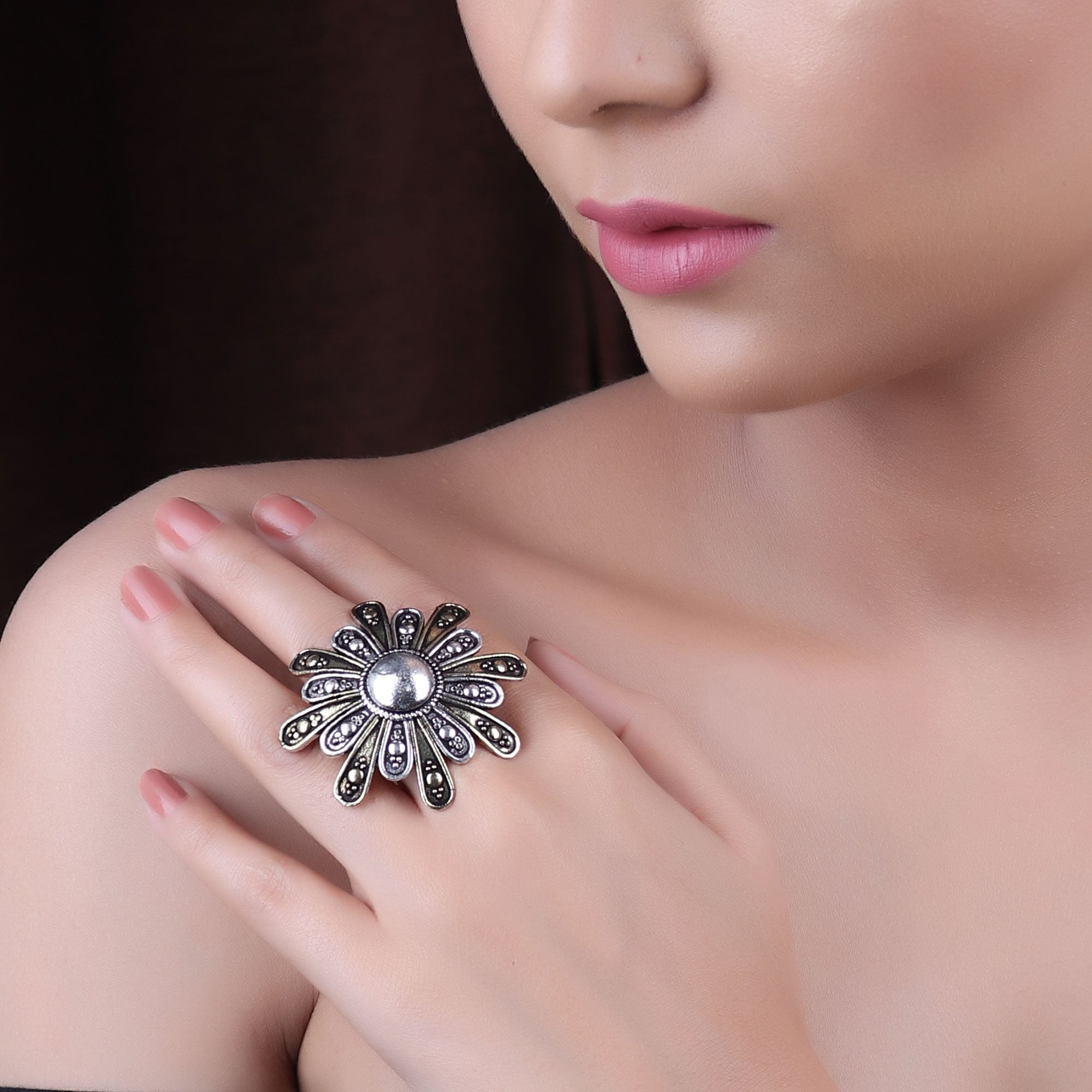 Ring,The Lily German Silver Ring - Cippele Multi Store