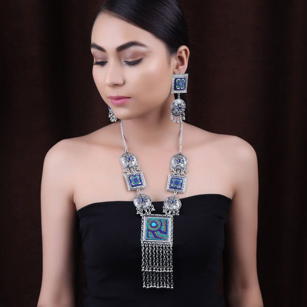 Necklace Set,The Royal Sultana Necklace Set in Shades of Blue - Cippele Multi Store