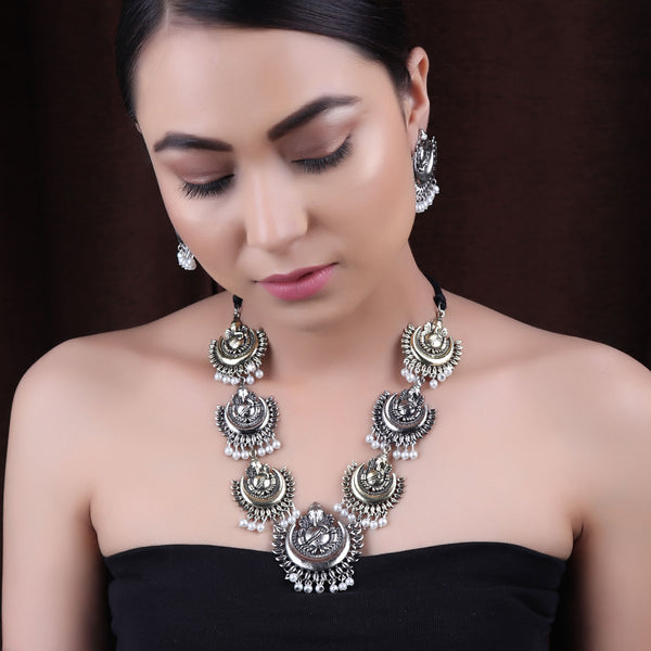 The Divine Ganesha Necklace Set in Dual Tone