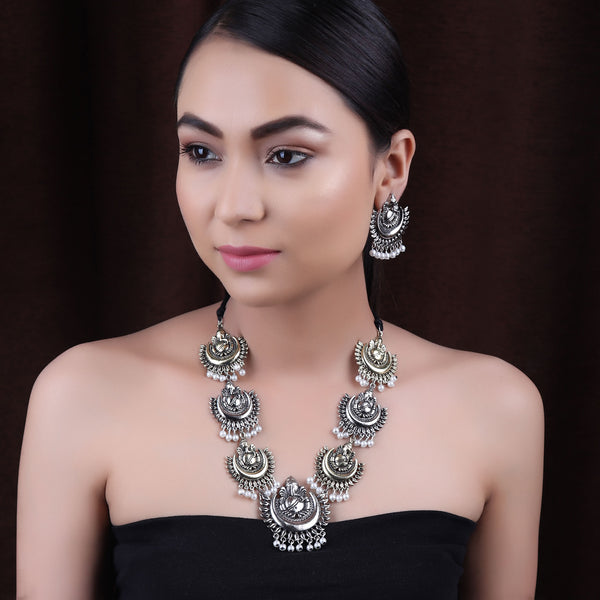 Necklace Set,The Divine Ganesha Necklace Set in Dual Tone - Cippele Multi Store