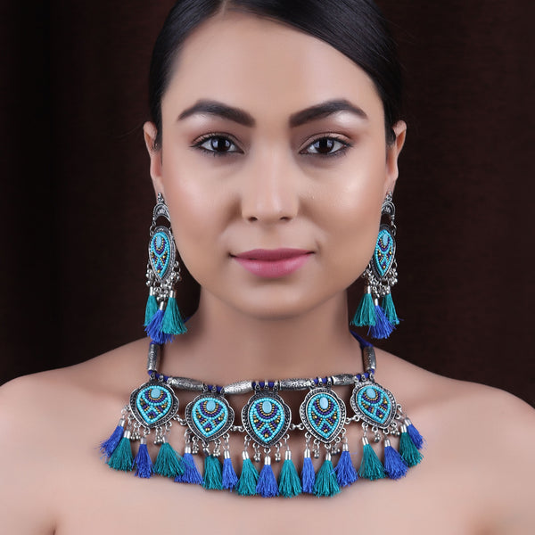 Necklace Set,The Fireflies Tassels Necklace Set in shades of Blue - Cippele Multi Store
