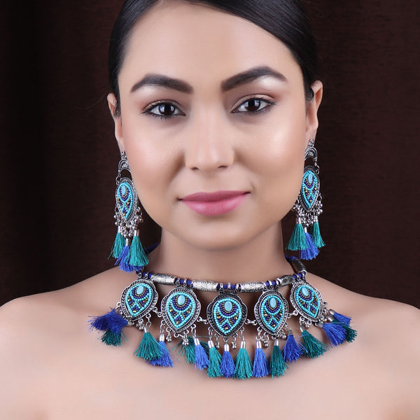 The Fireflies Tassels Necklace Set in shades of Blue