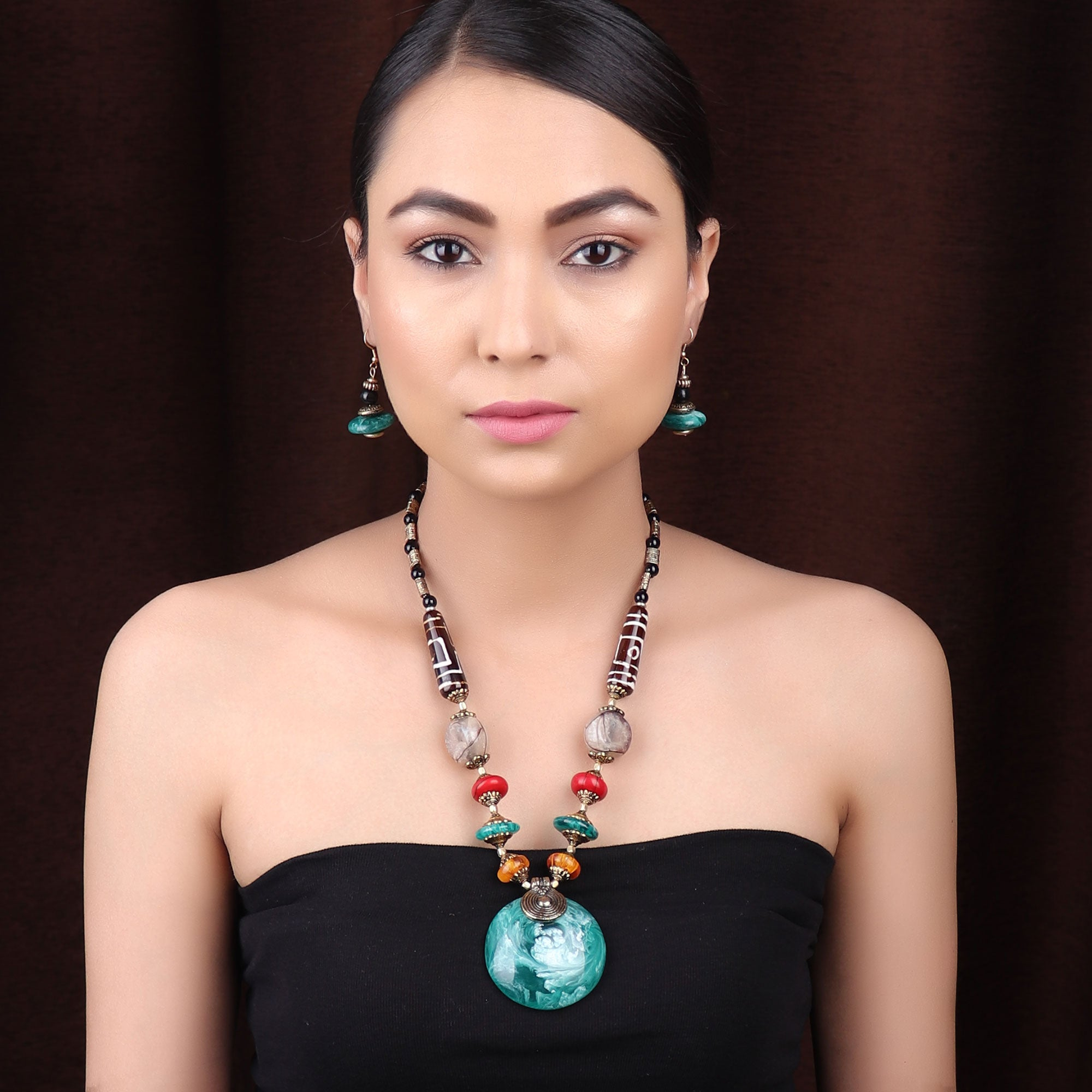 Necklace Set,The Celestial Necklace Set in Green - Cippele Multi Store