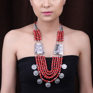 Necklace,The Fulani Tribal Necklace in Red - Cippele Multi Store