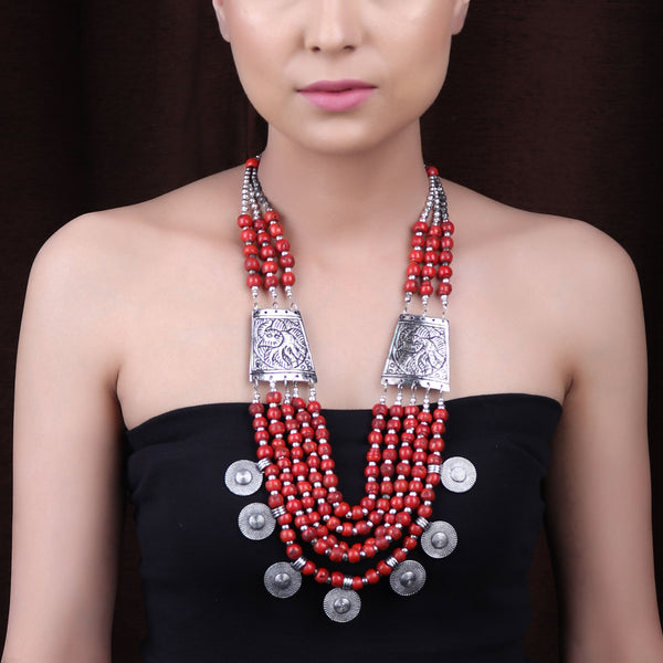 The Fulani Tribal Necklace in Red