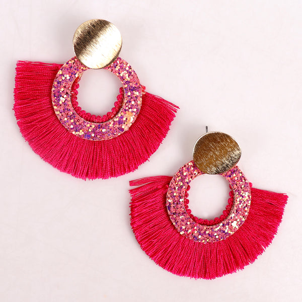 Earrings,Tassel Tryst Earrings in Pink - Cippele Multi Store