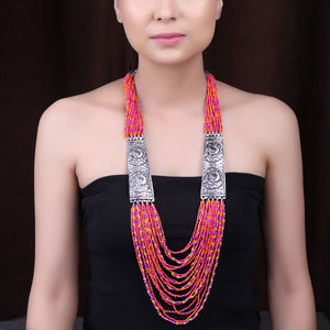 Necklace,The Pink & Orange Beaded Necklace with Silver Plates - Cippele Multi Store