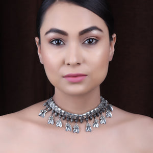 Necklace,Gulbandh Style Choker Necklace in Silver - Cippele Multi Store