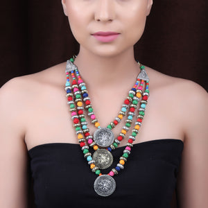 Necklace,The Metal Crayons Beaded Necklace in Multicolor - Cippele Multi Store
