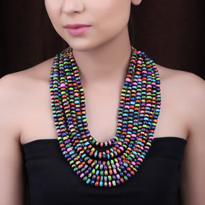 Necklace,The Banarasi Wooden Beaded Necklace in Multicolor - Cippele Multi Store