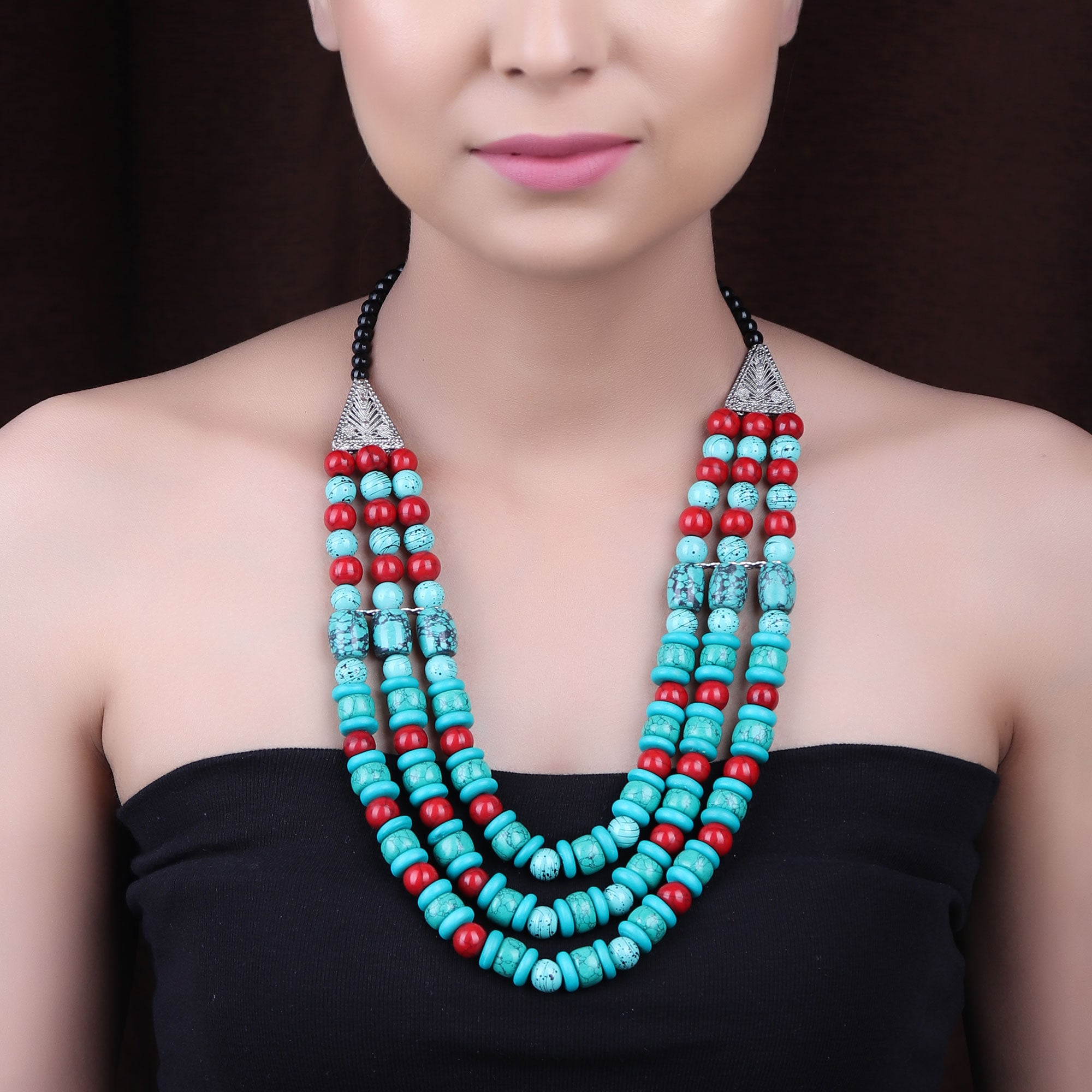 Necklace,The Geometry Layered Beaded Necklace in Green & Red - Cippele Multi Store