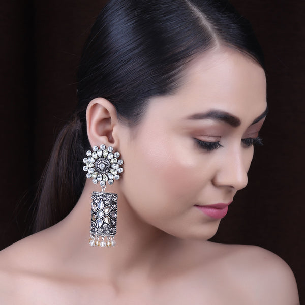 Earrings,The Rebonnet Earring in White & Cream Stone - Cippele Multi Store