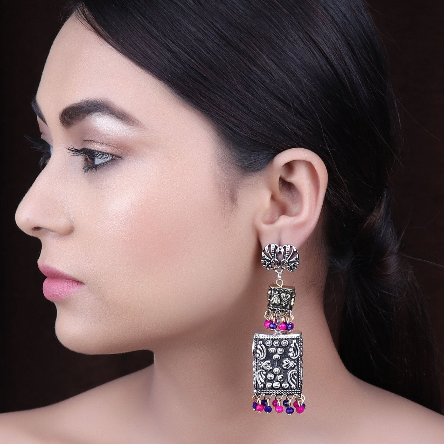 Earrings,The spirited Peacock Pair Earring in Pink & Blue Beads - Cippele Multi Store