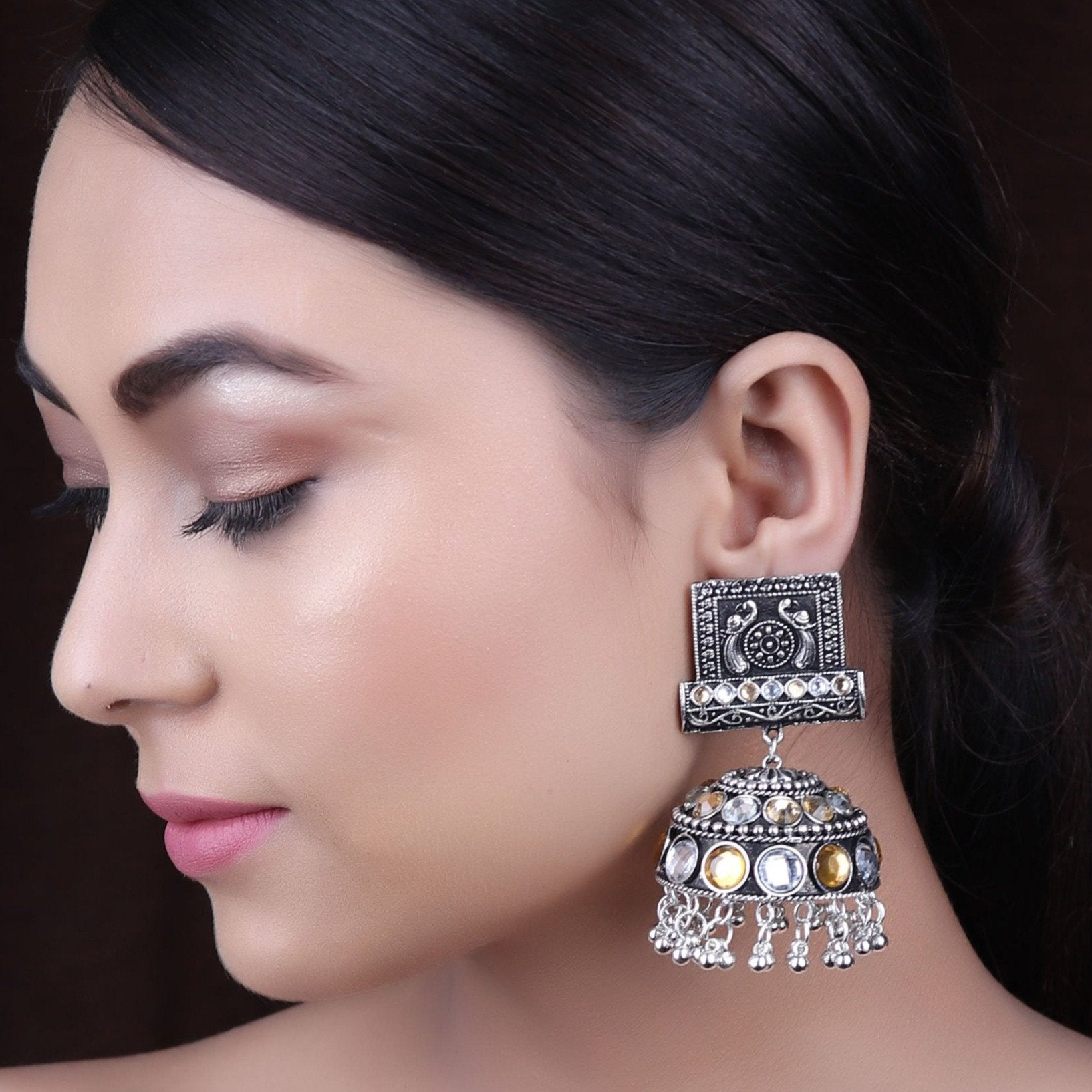 Earrings,The Farbella Jhoomer Earrings in White & Cream - Cippele Multi Store