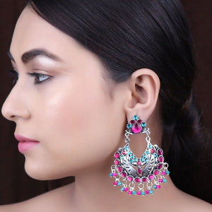 Earrings,The Vibrant Gleamy Pearl Earrings in Turquoise Blue & Magenta - Cippele Multi Store