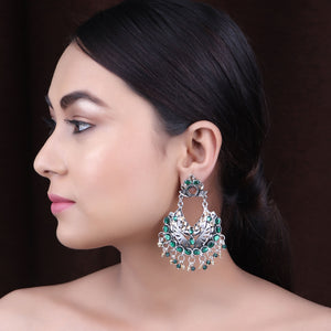 Earrings,The Vibrant Gleamy Pearl Earrings in Green & Cream - Cippele Multi Store