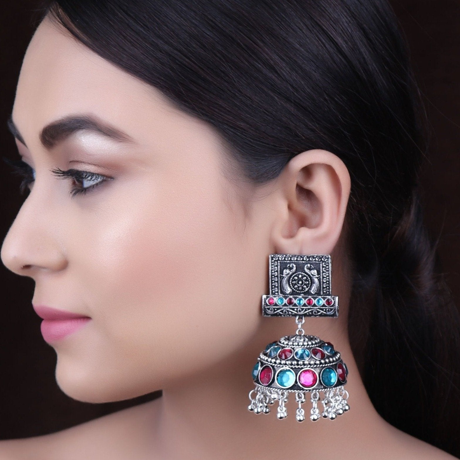The Farbella Jhoomer Earrings in Turquoise Blue & Magenta