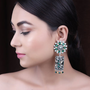 Earrings,The Rebonnet Earring in Green & Cream Stone - Cippele Multi Store