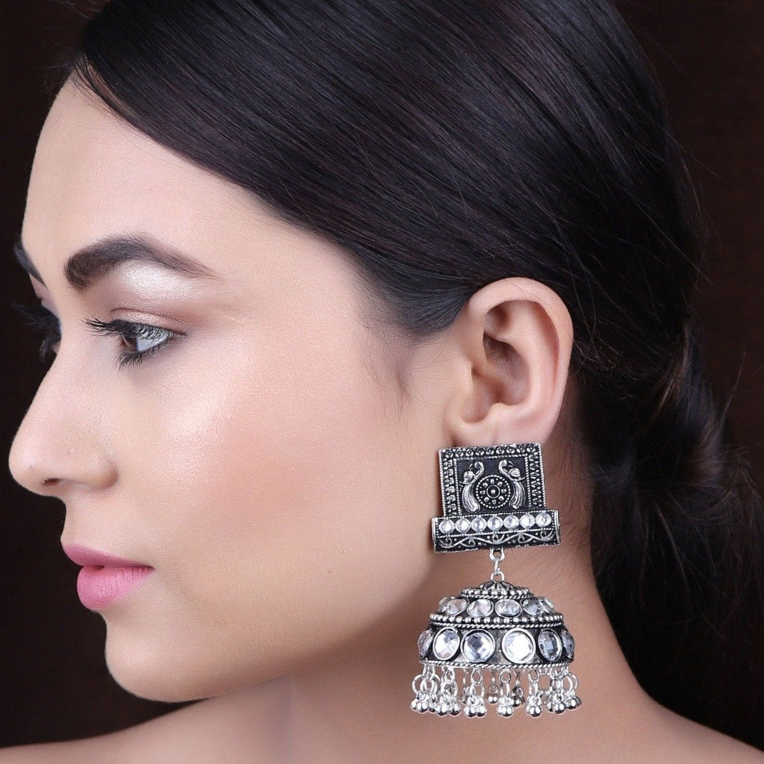 Earrings,The Farbella Jhoomer Earrings in White - Cippele Multi Store