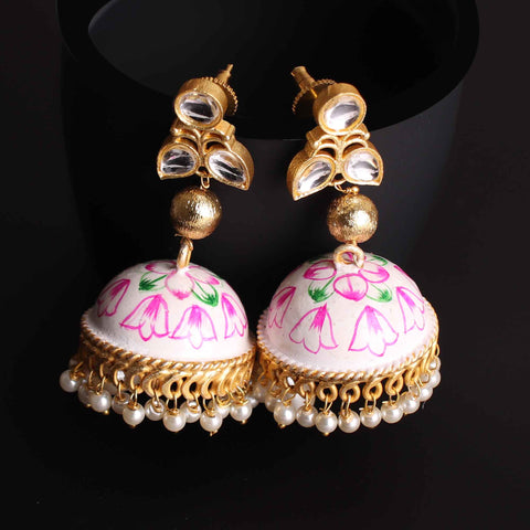 Earrings,Hand painted Exquisite Jhoomar with Faux Pearl - Cippele Multi Store